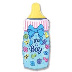 """Шар фольгированный """"Бутылочка для мальчика"""" голубой (23''/58 см)"""