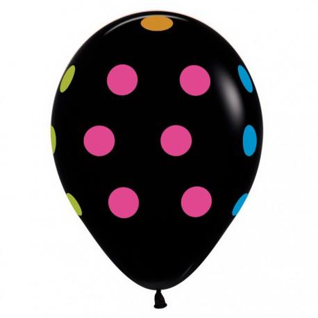 Гелиевые шары (12''/30 см) черный в многоцветный горошек, неон