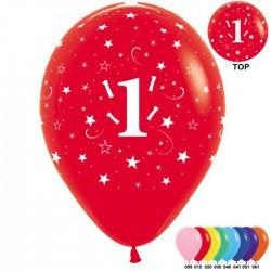 Гелиевые шары (12''/30 см) цифра 1, ассорти