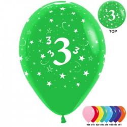 Гелиевые шары (12''/30 см) цифра 3, ассорти
