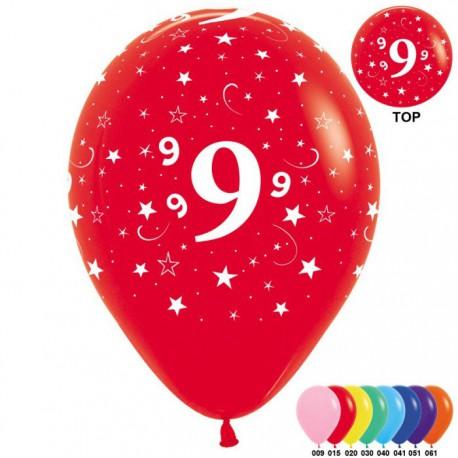 Гелиевые шары (12''/30 см) цифра 9, ассорти