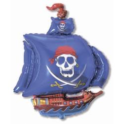 """Шар фольгированный - """"Пиратский корабль"""" синий (32''/81 см)"""