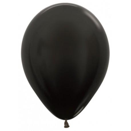 Шар с гелием (12''/30 см) черный, металлик