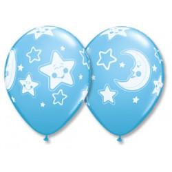 Шар с гелием (11''/28 см) Луна и Звезды
