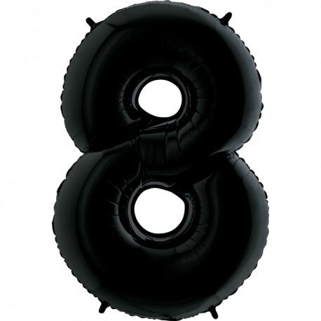 """Шар фольгированный """"Цифра 8"""" (34''/86 см), черный"""
