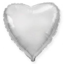 Шар фольгированный Сердце (16''/40 см), Серебро