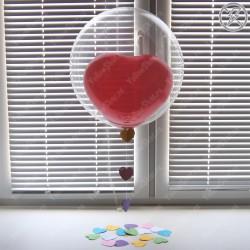 Сердце в прозрачном шаре с гирляндой из сердец (18''/45 см)