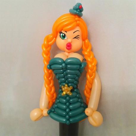 Девушка в военной форме из шаров 140 см.