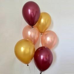 Набор из 6 шаров Золото-бургундия