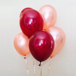 """Набор из 6 шаров """"Стеклянная"""" бургундия и розовое золото"""