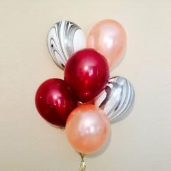 """Набор из 6 шаров """"Стеклянная"""" бургундия, розовое золото и черно-белый мрамор"""