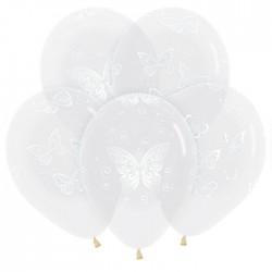 Гелиевые шары (12''/30 см) Бабочки, кристалл, прозрачный