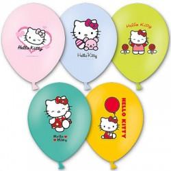 Гелиевые шары (12''/30 см) Hello Kitty, многоцветный рисунок, ассорти