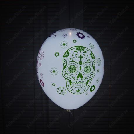 Светодиодный шар с гелием, Хэллоуин, цветные черепа (12''/30 см)