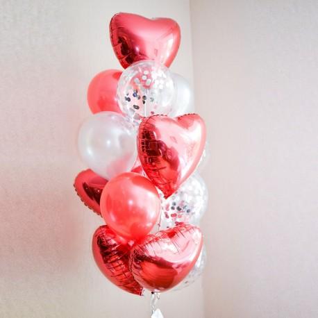 Фонтан из фольгированных сердец и латексных шаров