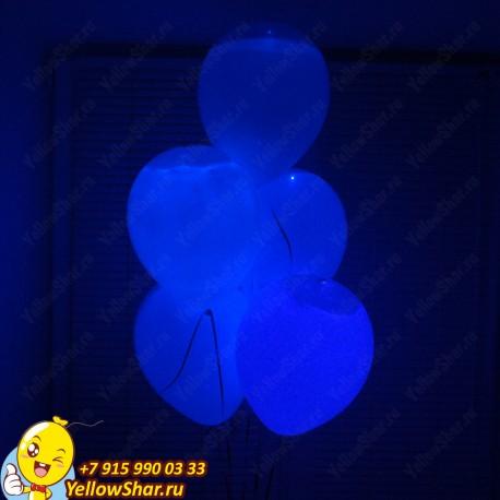 Светящиеся шары с гелием (12''/30 см), белый шар синее свечение