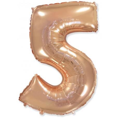 """Шар фольгированный """"Цифра 5"""" (34''/86 см), розовое золото"""