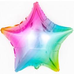 Шар фольгированный Звезда (24''/61 см), радуга, нежный градиент