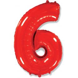 """Шар фольгированный """"Цифра 6"""" (34''/86 см), красный"""
