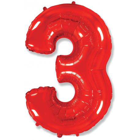 """Шар фольгированный """"Цифра 3"""" (34''/86 см), красный"""