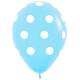 Гелиевые шары (12''/30 см) в белый горошек, ассорти