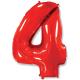 """Шар фольгированный """"Цифра 4"""" (34''/86 см), красный"""