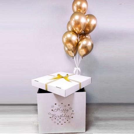 Коробка сюрприз с воздушными шарами хром золото