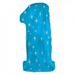"""Шар фольгированный """"Цифра 1"""" (43''/109 см) Голубой, звезды"""
