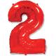 """Шар фольгированный """"Цифра 2"""" (34''/86 см), красный"""