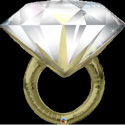 """Шар фольгированный """"Свадебное кольцо с бриллиантом"""" (30''/76 см)"""