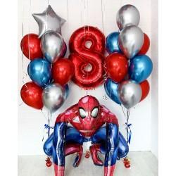 Композиция из фонтанов шаров с Человеком пауком и цифрой