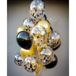 Фонтан из черно-золотых шаров 21 шт.