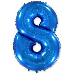"""Шар фольгированный """"Цифра 8"""" (34''/ 86 см), синий"""
