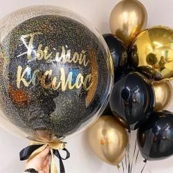 Фонтан из гелиевых шаров и космического баблса с лазерным конфетти