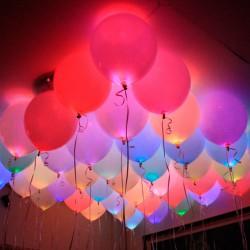Светящиеся шары с гелием (12''/30 см), мигающие разноцветные, с выключателем