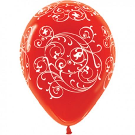 Гелиевые шары (12''/30 см) Узоры, красный