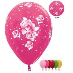 Гелиевые шары (12''/30 см) розы, металлик, ассорти