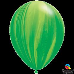 Шар с гелием (11''/28 см) зеленая радуга, Супер Агат