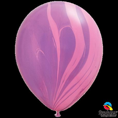 Шар с гелием (11''/28 см) розово-фиолетовая радуга, Супер Агат