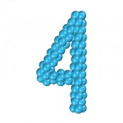 Цифра 4 из воздушных шаров каркасная
