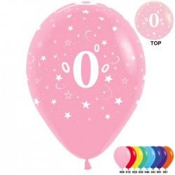 Гелиевые шары (12''/30 см) цифра 0, ассорти