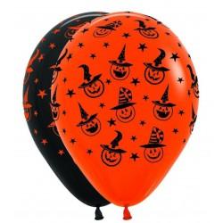 Гелиевые шары (12''/30 см) Хэллоуин, тыквы