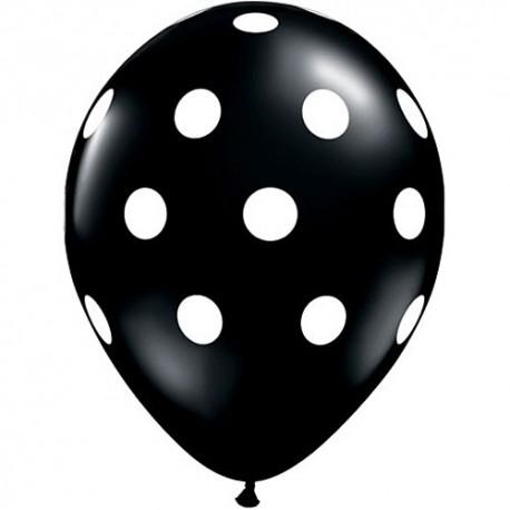 Гелиевые шары (14''/35 см) Черные в белый горошек
