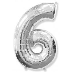 """Шар фольгированный """"Цифра 6"""" (34''/ 86 см), серебро"""